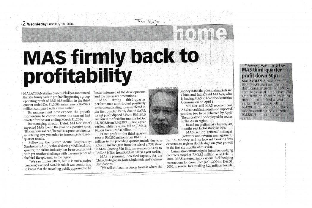 MAS firmly back to profitability