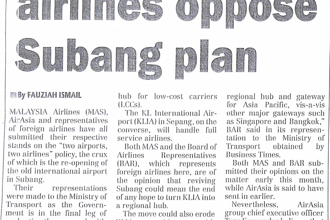 MAS, foreign airlines oppose Subang plan - 01