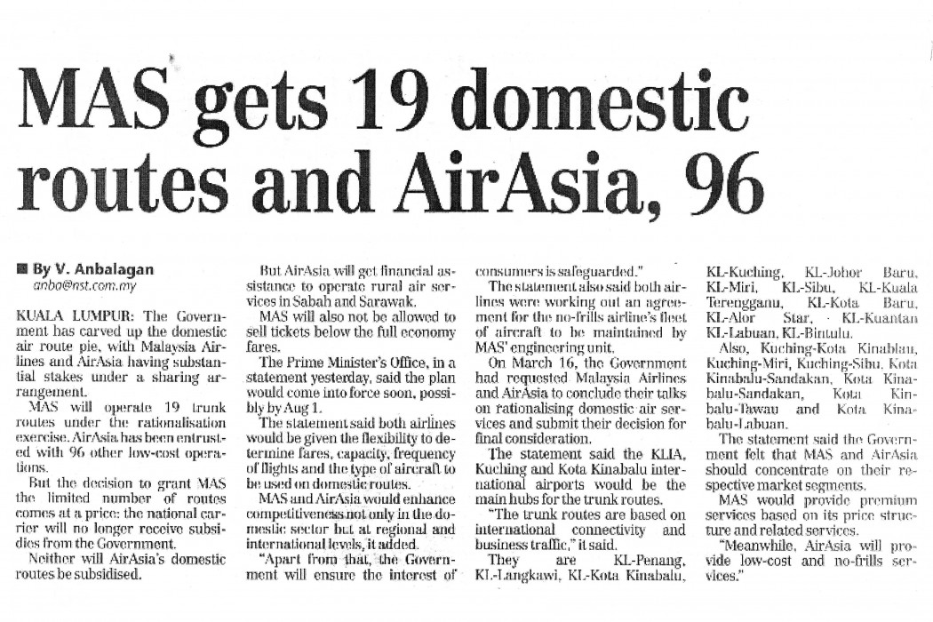 MAS gets 19 domestic routes and airasia, 96