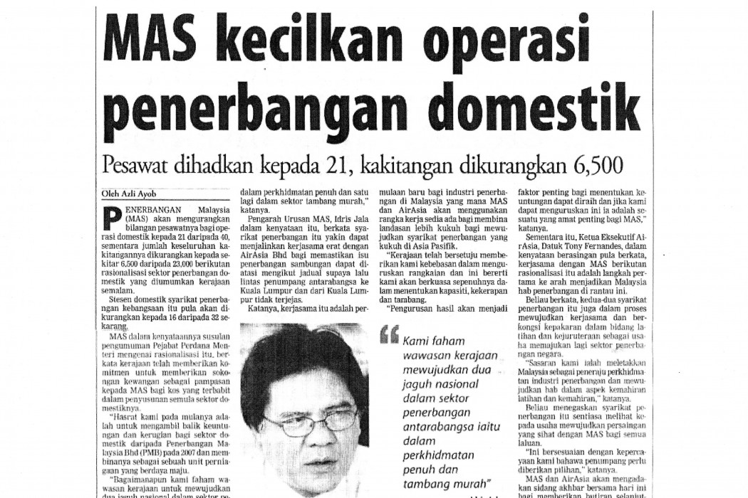 MAS kecilkan operasi penerbangan domestik