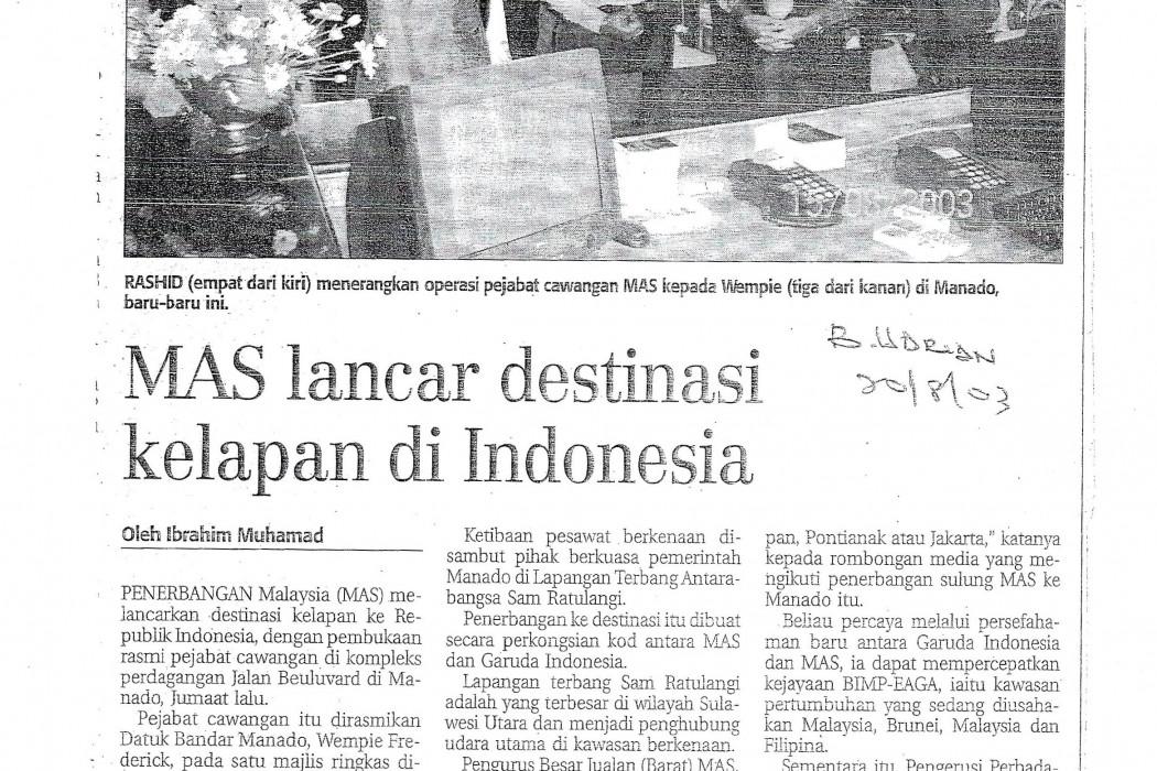 MAS lancar destinasi kelapan di Indonesia
