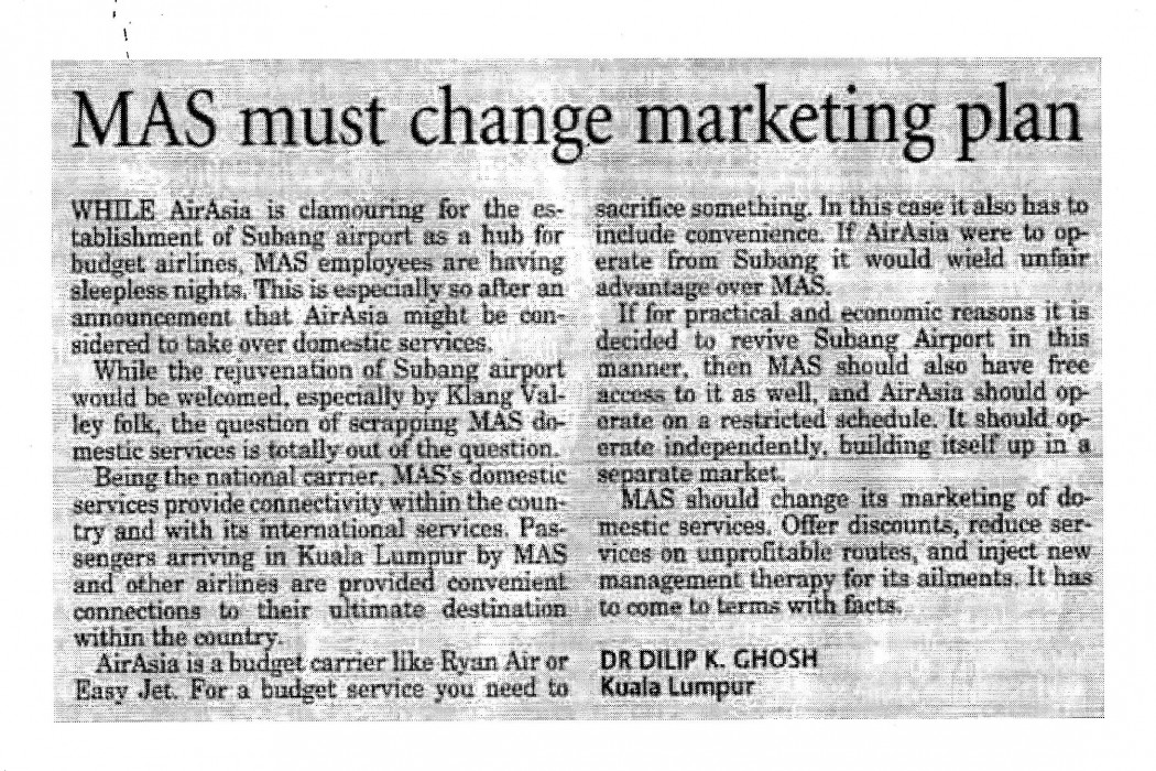 MAS must change marketing plan