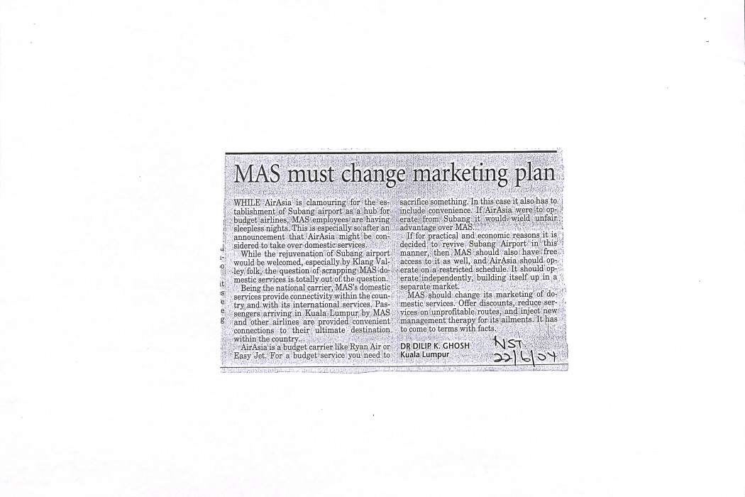 MAS must change marketing plan