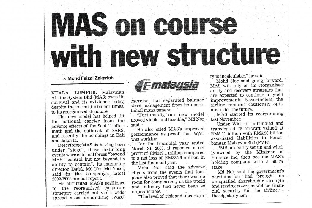 MAS on course with new structure