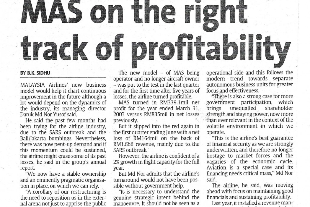 MAS on the right track of profitability