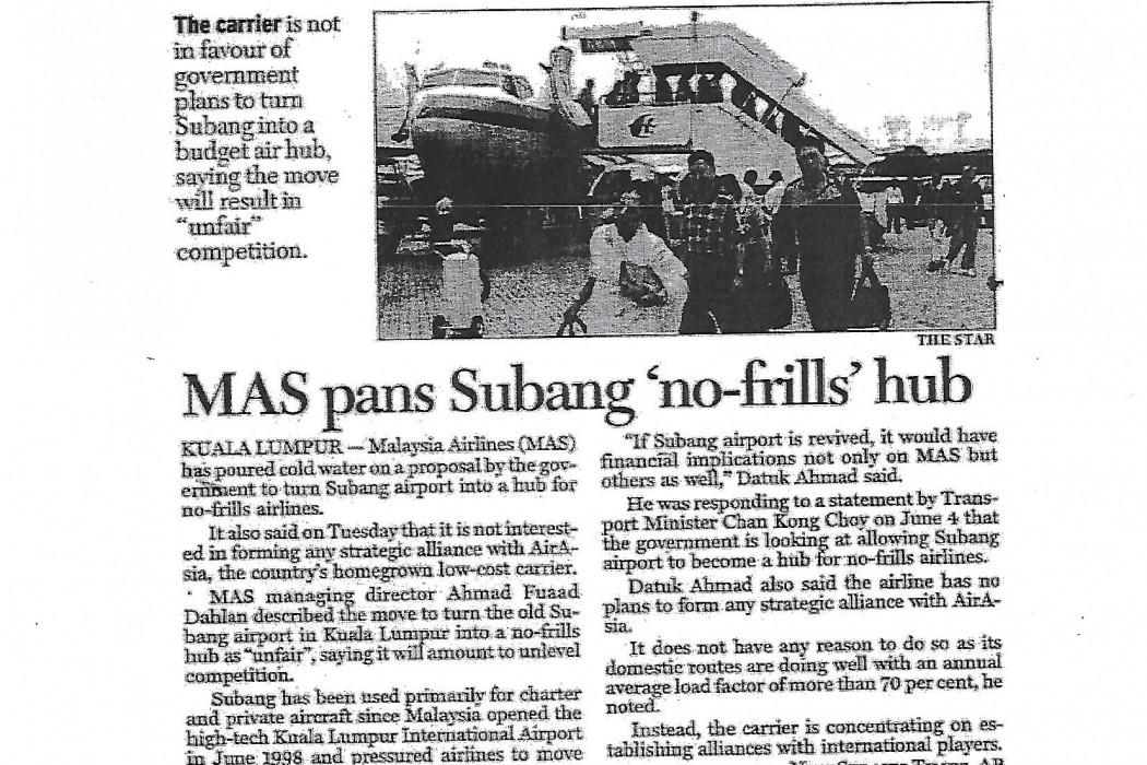 MAS pans Subang 'no-frills' hub