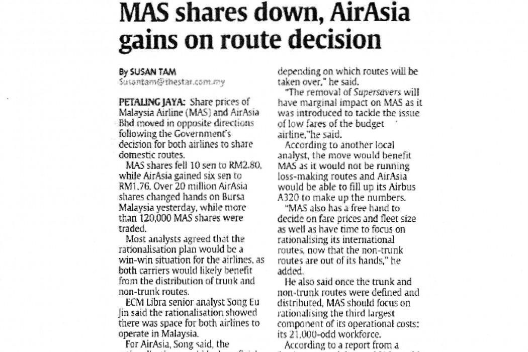 MAS shares down, airasia gains on route decision