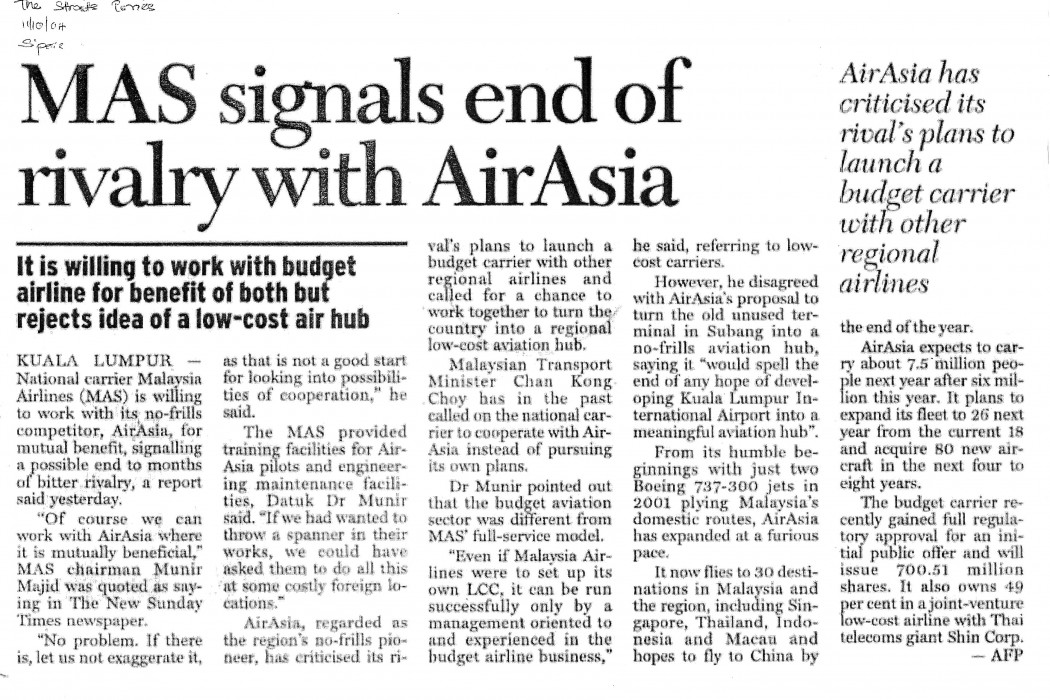 MAS signals end of rivalry with airasia