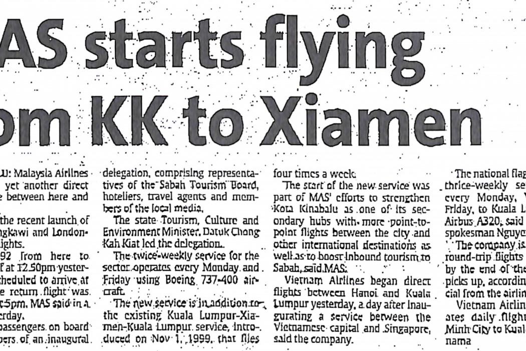 MAS starts flying from KK to Xiamen
