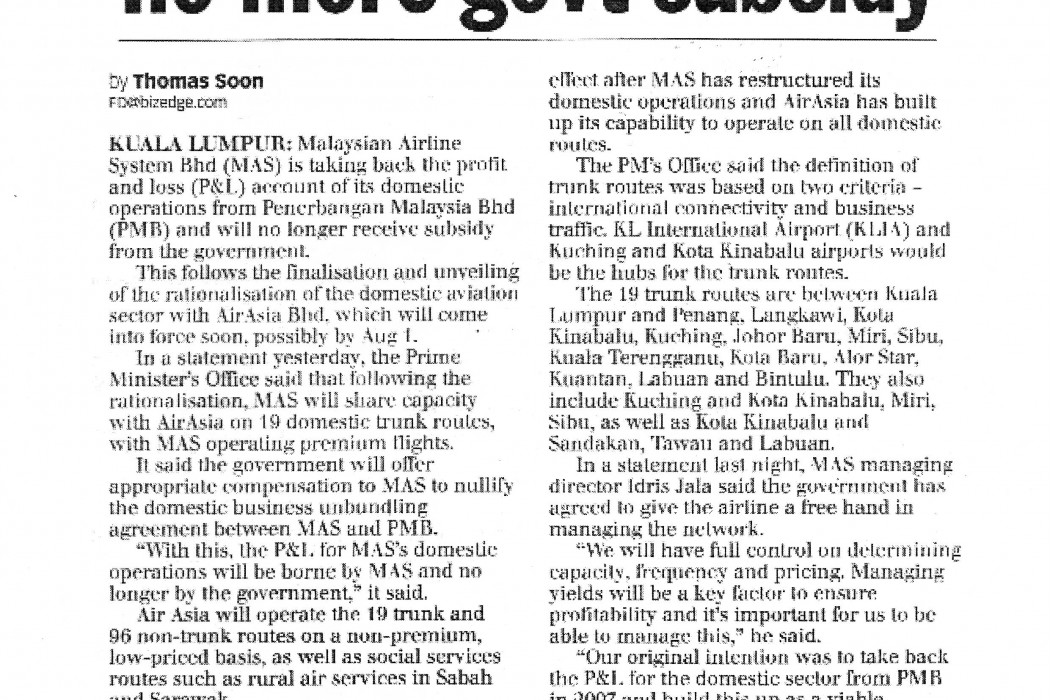 MAS takes back domestic P&L, no more govt subsidy