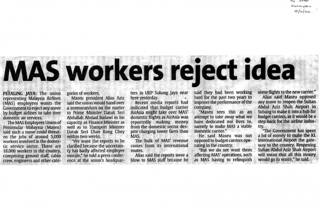 MAS workers reject idea