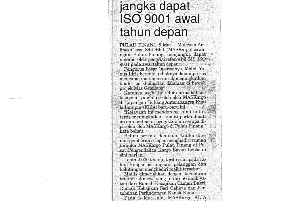 MASKargo Pulau Pinang jangka dapt ISO 9001 awal tahun depan
