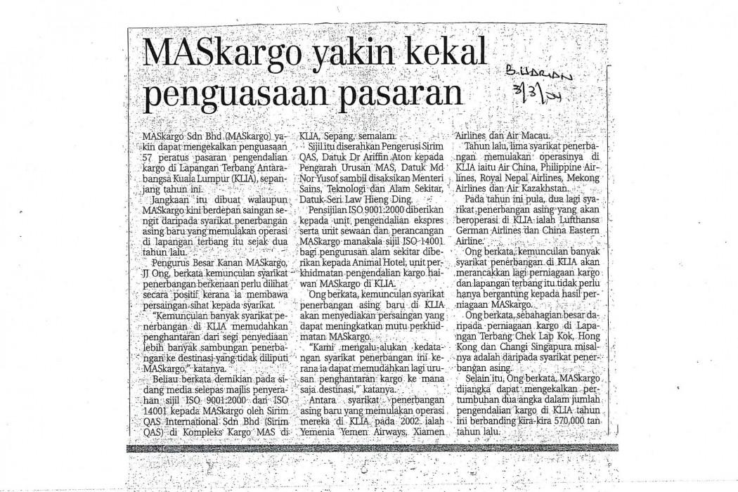 MASKargo yakin kekal penguasaan pasaran