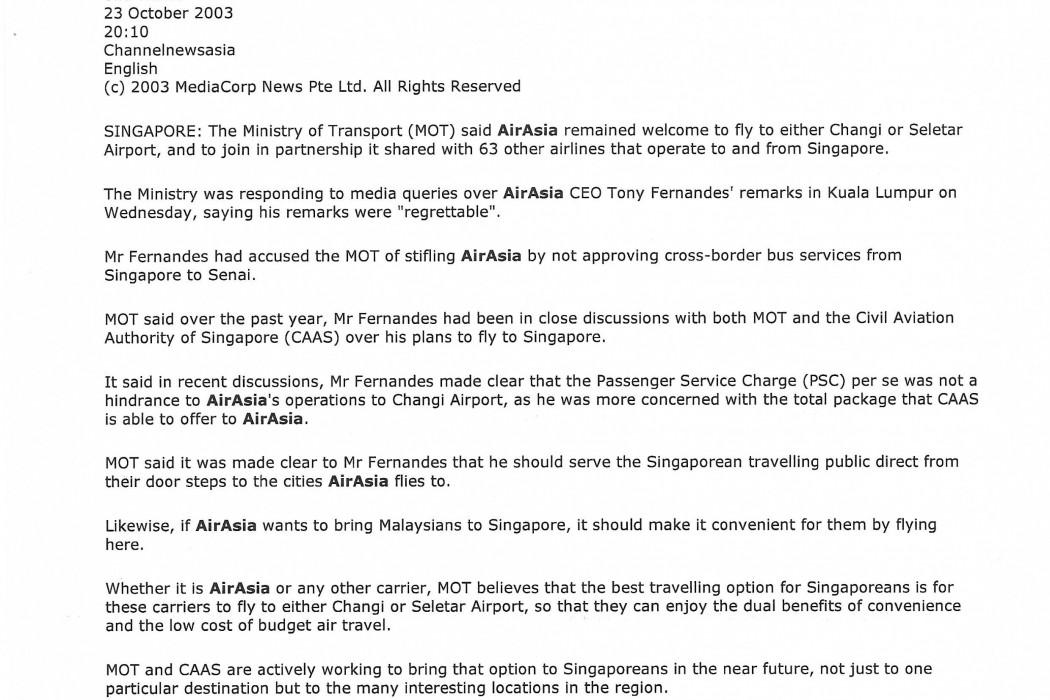 MOT dismisses accusation of stifling airasia
