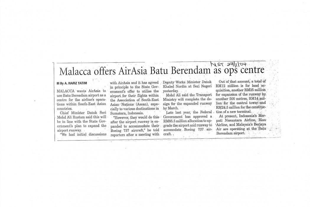 Malacca offers airasia Batu Berendam as ops centre