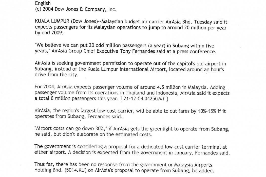 Malaysia airasia 20M Malaysian Passengers Per Year By 2009