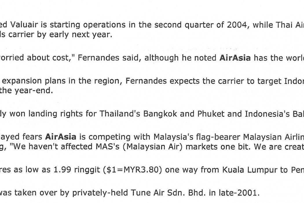 Malaysia airasia FY03-04 Traffic to More than Double (2)