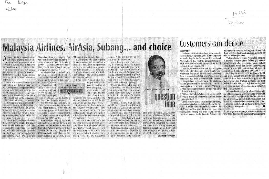 Malaysia Airlines, airasia, Subang... and choice