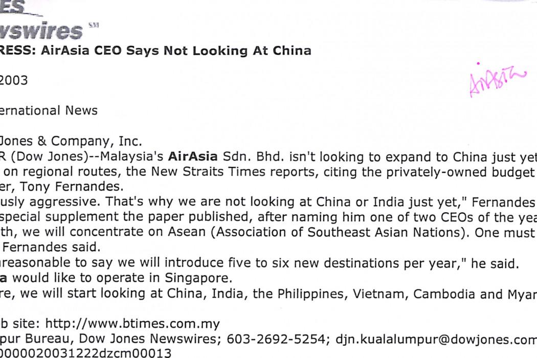 Malaysia Press airasia CEO says not looking at China