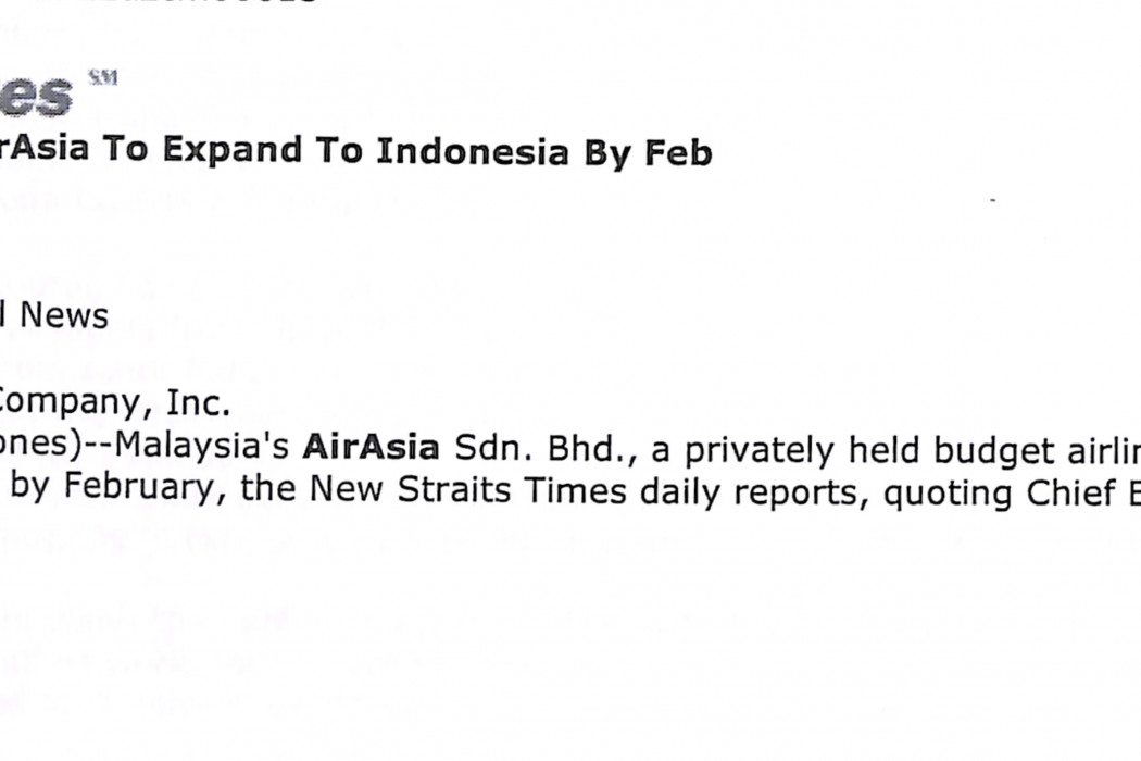 Malaysia Press airasia to expand to Indonesia by Feb (1)