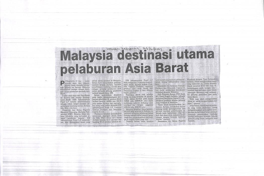 Malaysia destinasi utama pelaburan Asia Barat