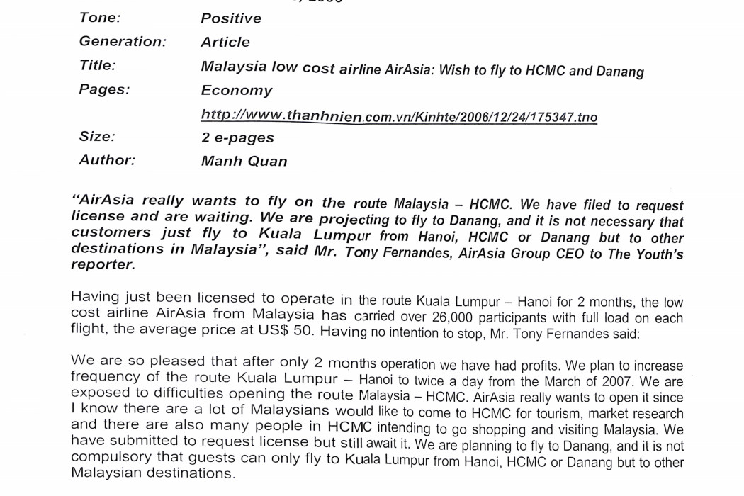 Malaysia low cost airline airasia_ Wish to fly to HCMC and Danang (2)