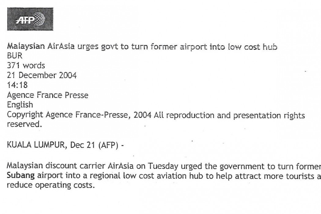 Malaysian airasia urges govt to turn former airport into low cost hub - 01