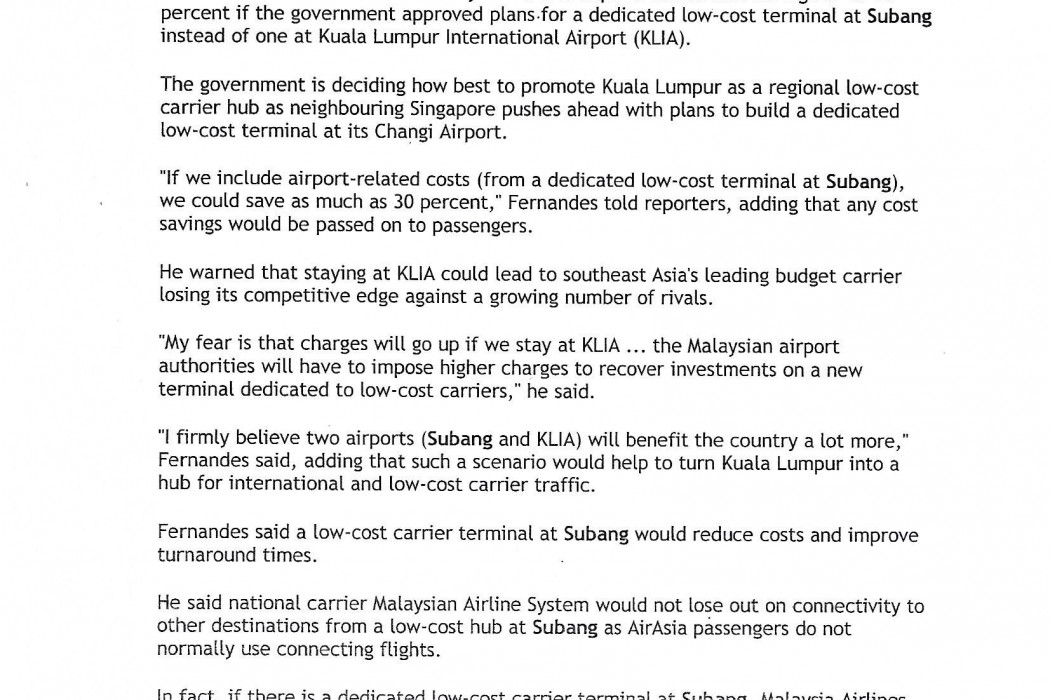 Malaysian airasia urges govt to turn former airport into low cost hub - 02