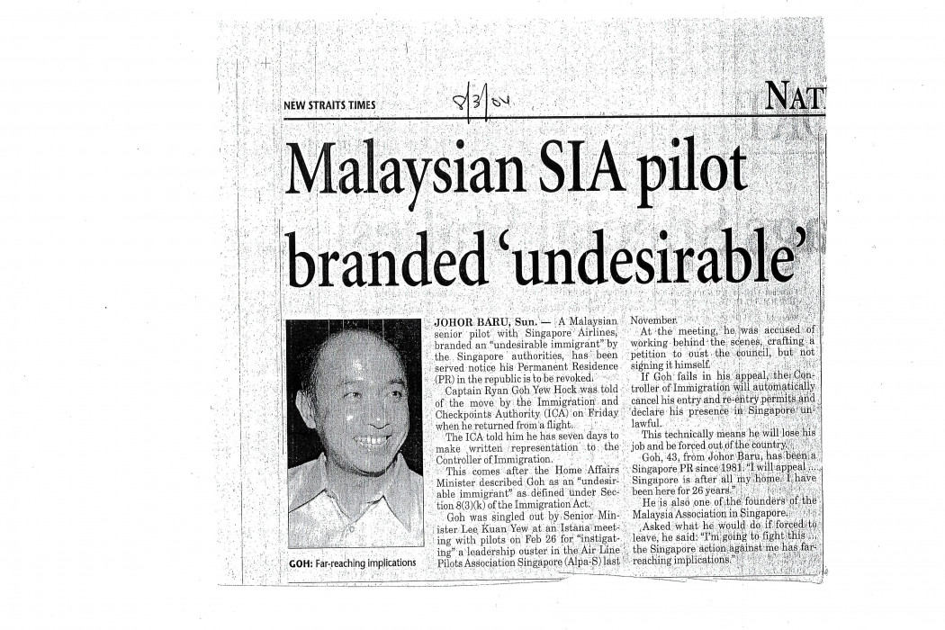 Malaysian SIA pilot branded 'undesirable'