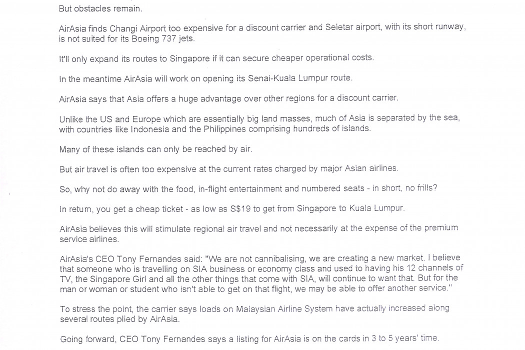 Malaysian budget carrier airasia looking to fly to Singapore