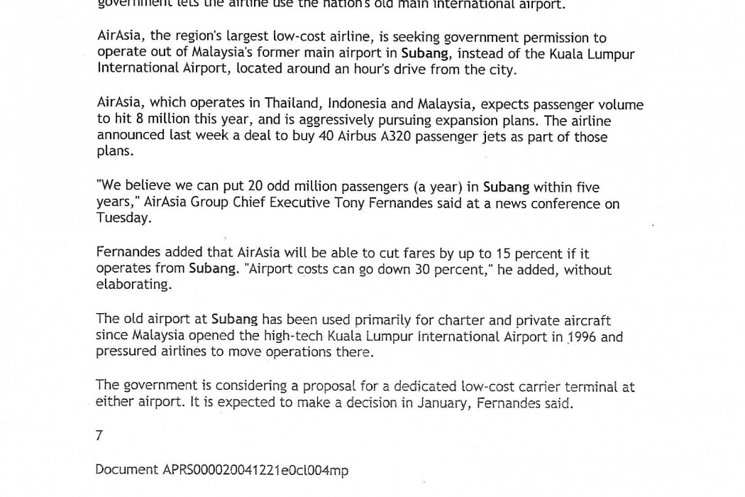 Malaysian budget carrier targets 20 million passengers a year on Malaysia-origiated routes by 2009