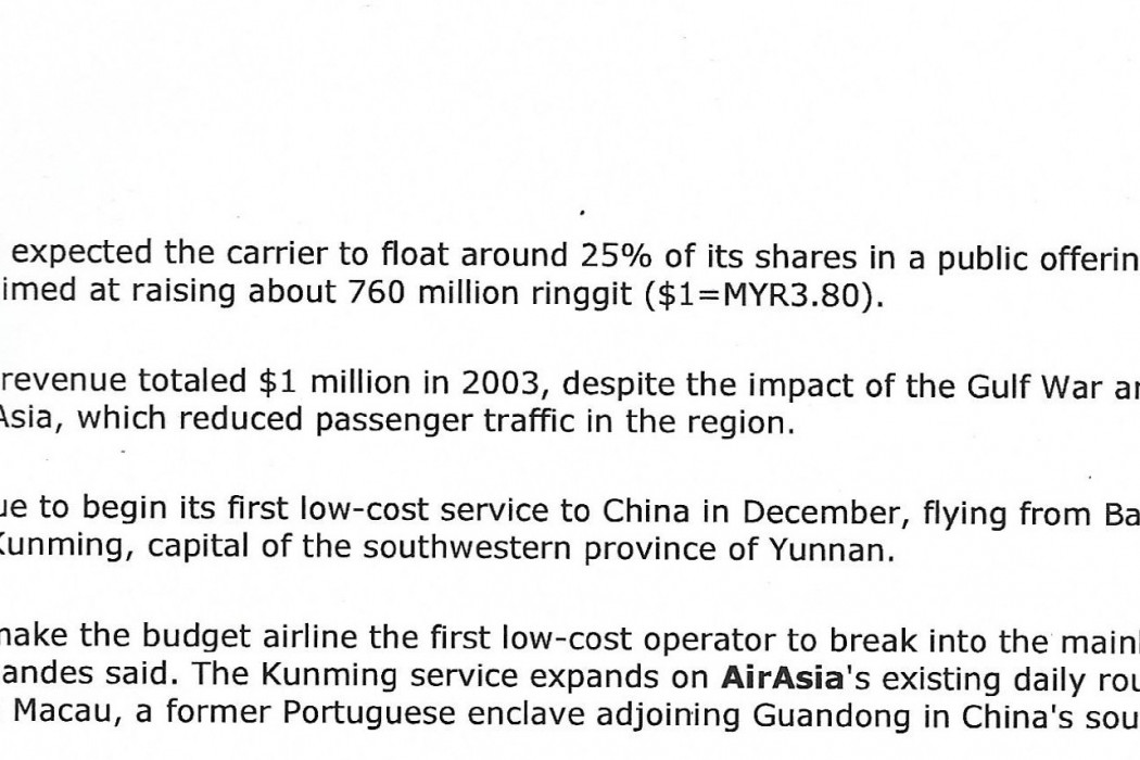 Malaysia's airasia CEO Undecided on Fund Raising Options (2)