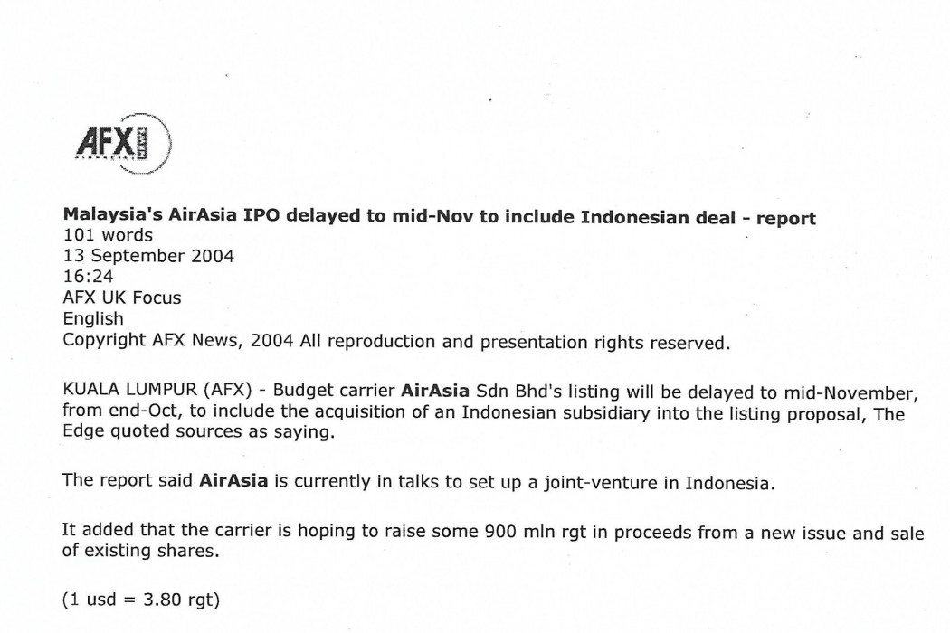 Malaysia's airasia IPO delayed to mid-Nov to include Indonesian deal
