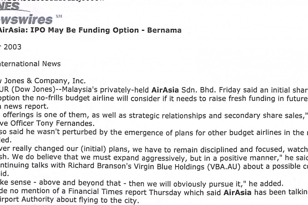 Malaysia's airasia; IPO may be funding option
