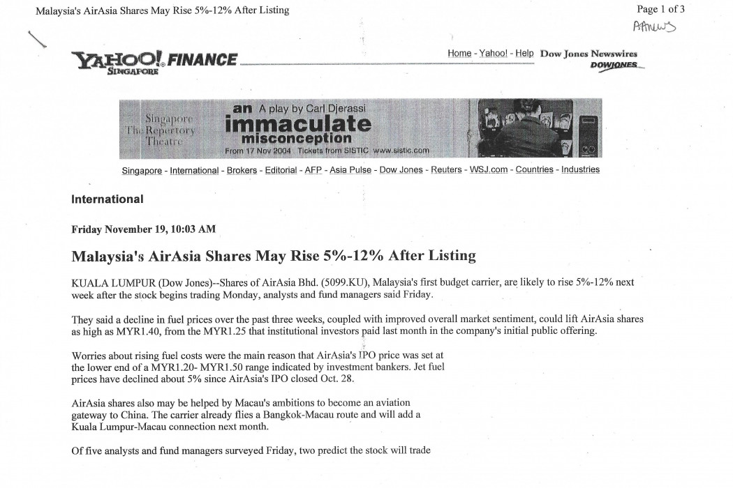 Malaysia's airasia Shares May Rise 5%-12% After Listing (1)