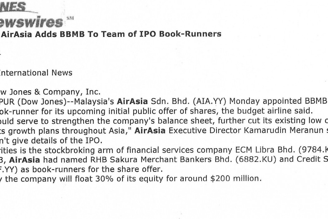 Malaysia's airasia adds BBMB to team IPO book-runners