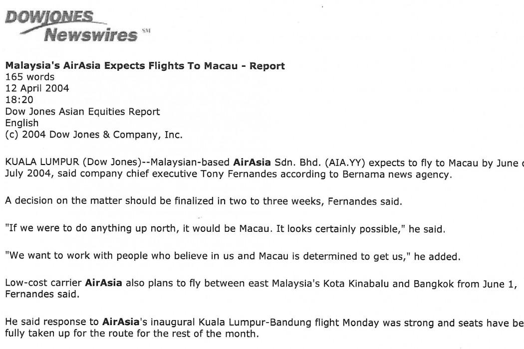 Malaysia's airasia expects flights to Macau - Report