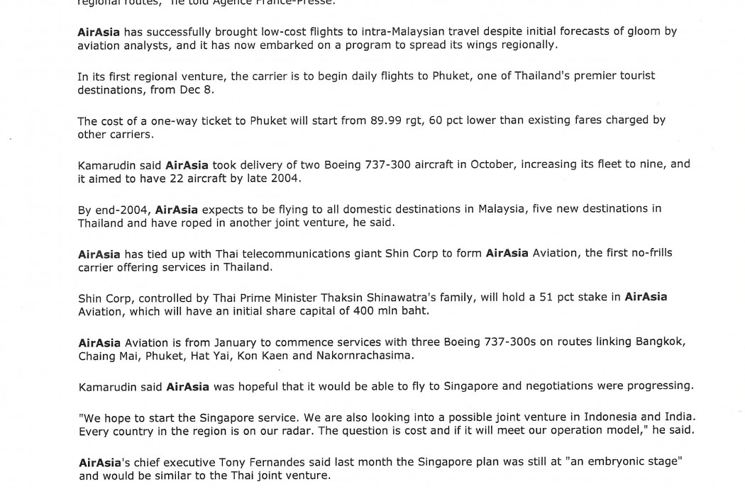 Malaysia's airasia plans IPO in 2004 to fund expansion program (2)