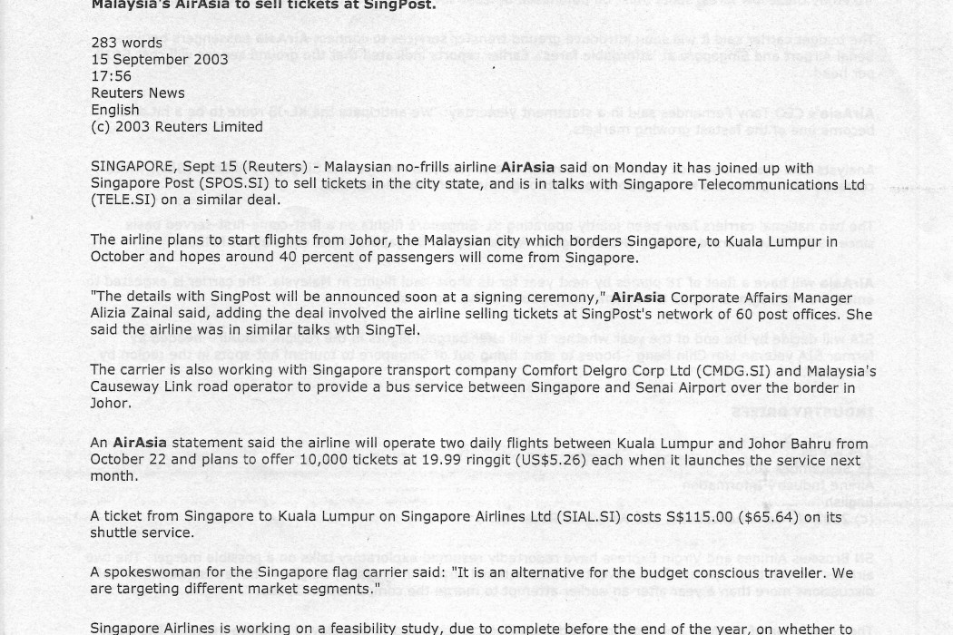 Malaysia's airasia to sell tickets at SingPost