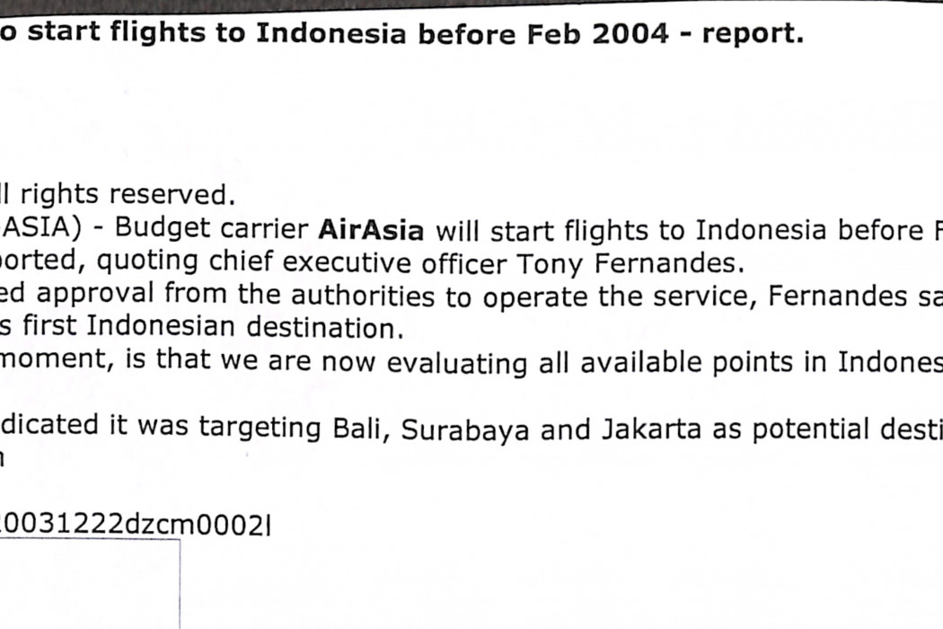 Malaysia's airasia to start flights to Indonesia before Feb 2004 - report