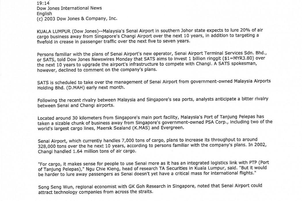 Malaysia's Senai Airport Eyes Singapore's Cargo Business - 01