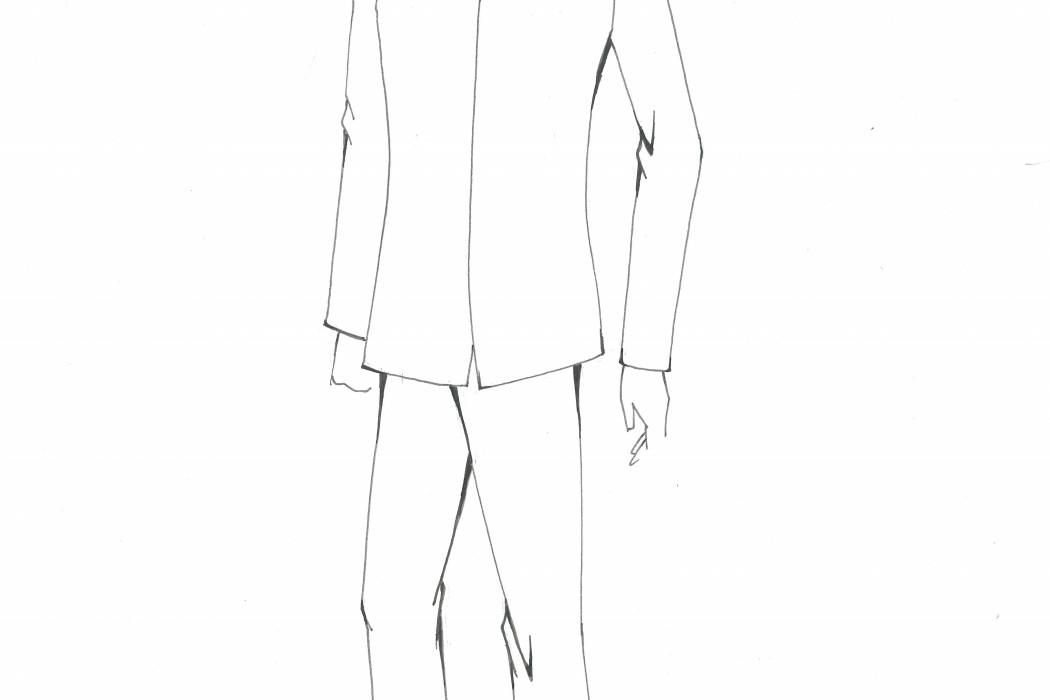 Male cabin crew uniform design sketch (1)