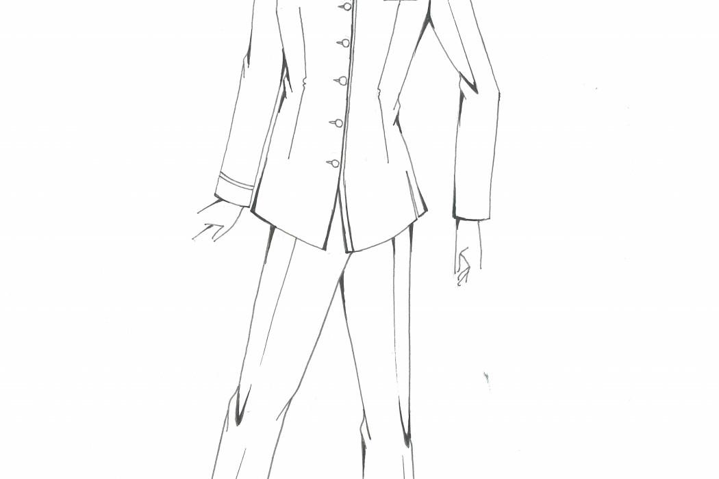 Male cabin crew uniform design sketch (4)