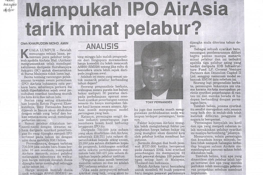 Mampukah IPO airasia tarik minat pelabur