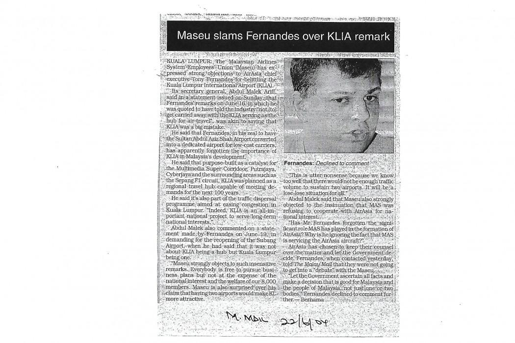 Maseu slams Fernandes over KLIA remark