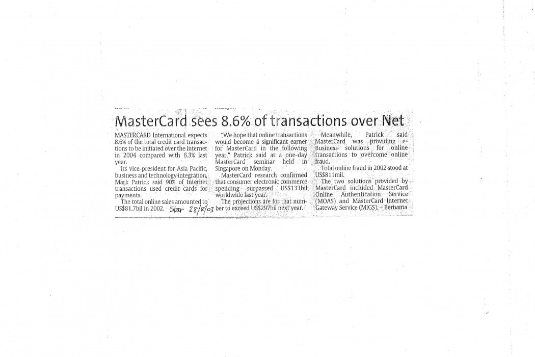 MasterCard sees 8.6% of transactions over Net