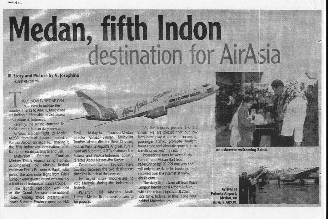Medan, fifth Indon destination for airasia