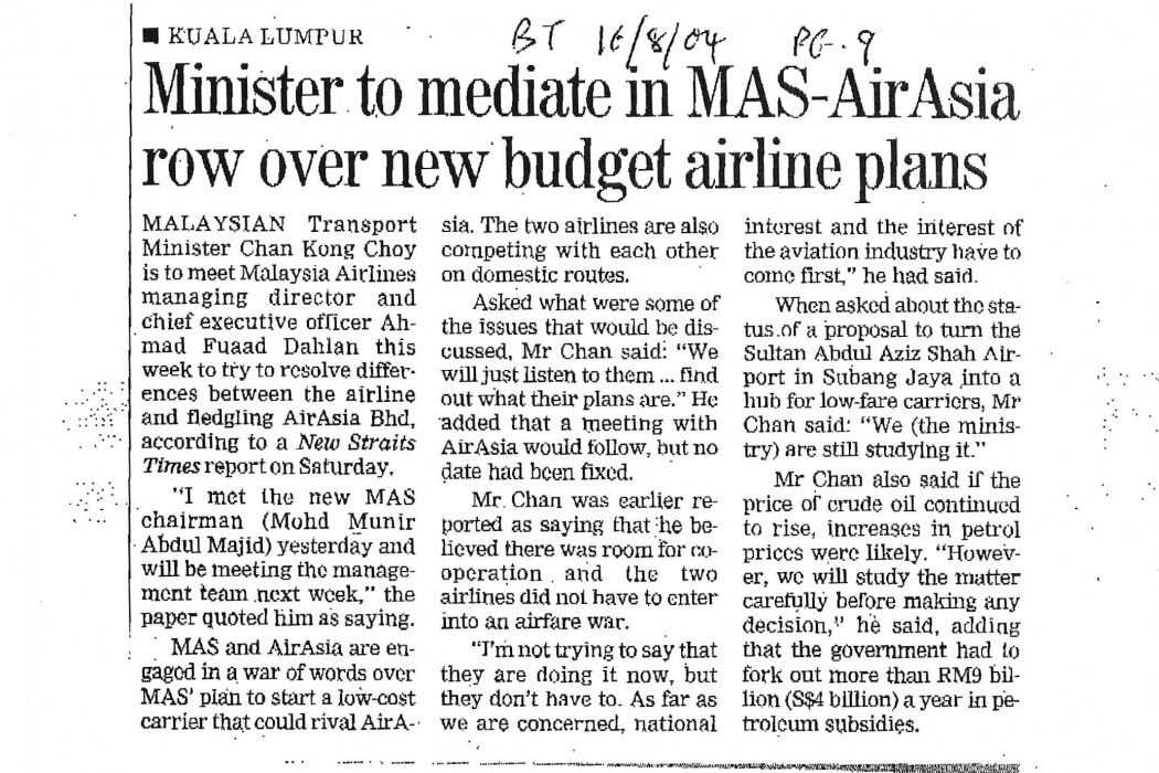 Minister to mediate in MAS-airasia row over new budget airline plans