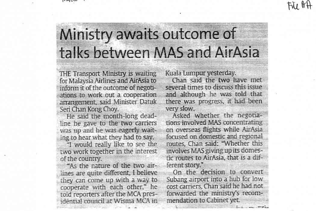 Ministry awaits outcome of talks between MAS and airasia
