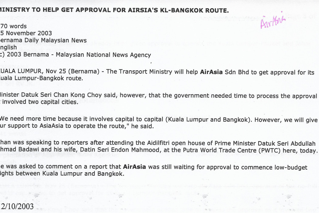 Ministry to Help Get Approval for airasia's KL-Bangkok Route (1)